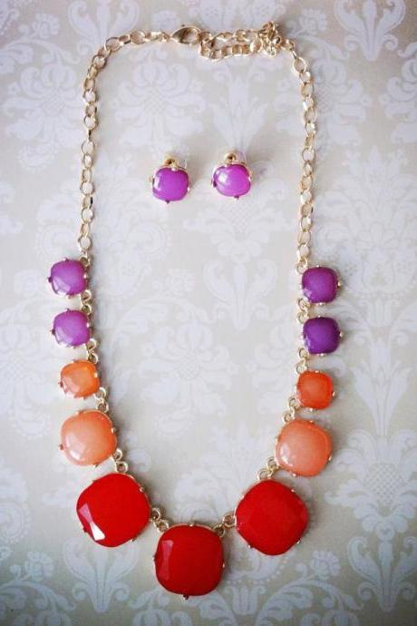 Amanda Necklace Set in Orange & Purple