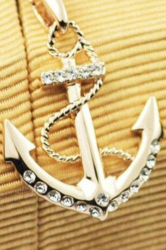18K Color Gold Anchor Necklace A 082613