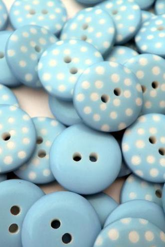 25x Soft Sage/Turquoise Spotty 12mm Buttons