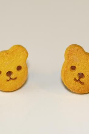 Kawaii Cute Miniature Food Earrings -Bear Head Cookies