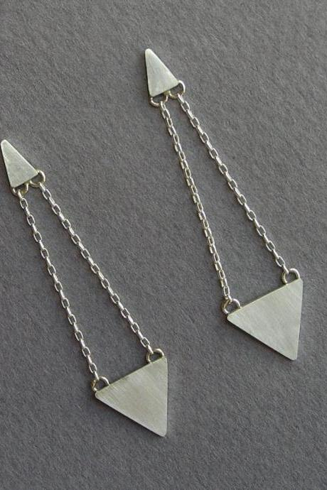 Triangles Dangle Earrings - Geometric Jewelry - Sterling Silver Post Earrings