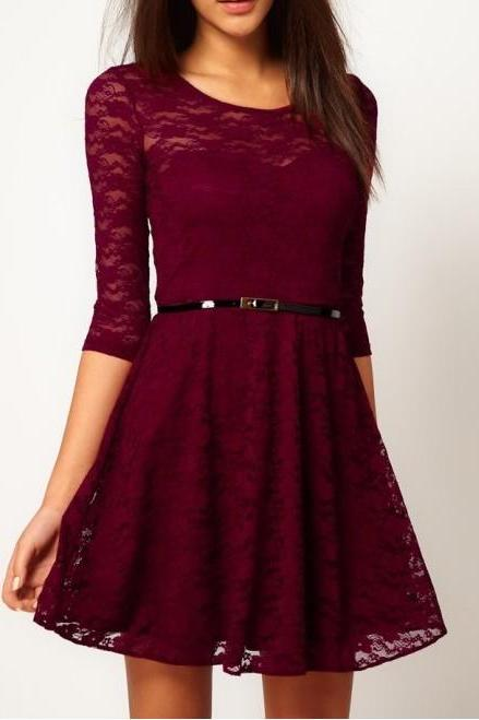 Fashion Lace Stitching Round neck long-sleeved dress with belt - Wine Red