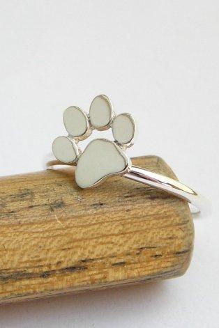 Paw Print Ring - Cat or Dog Paw Ring - Sterling Silver - Animal Lover Jewelry