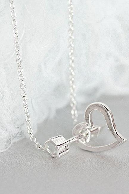 Silver Arrow Heart Necklace, Open Heart Arrow Cupid Jewelry
