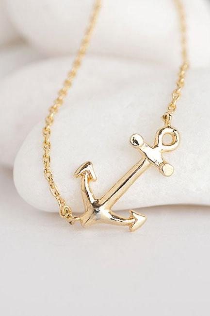 Sidways Anchor Necklace in Gold, Ahoy Nautical Charm Necklace, Minimalist