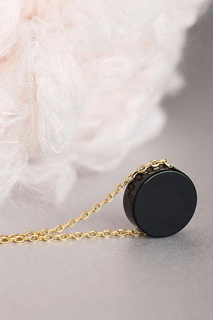 Black Onyx Necklace, Gold / Silver Chain Option, Round Flat Onyx Coin Charm