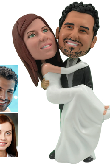 Personalized Wedding Cake Topper - Cake Topper of a Groom Carrying the Bride