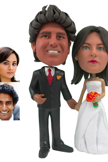 Personalized Wedding Cake Topper - Cake Topper of a Couple Holding Hands