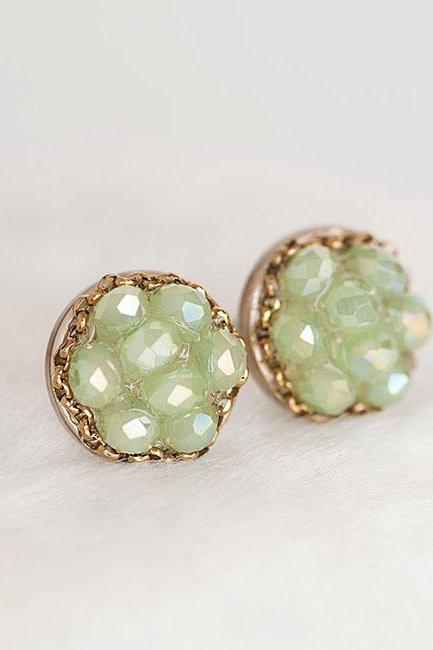 Green Crystal Earrings on Gold Frame, Faceted Apple Green Bead, Sparkle