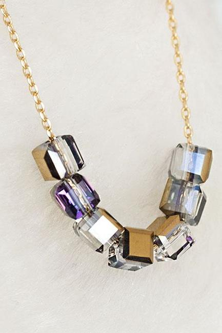 Gold Purple Cube Necklace, Minimalist Geometric Inspired