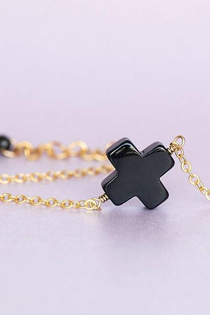 Onyx Square Cross Bracelet, Sideways Cross Bracelet, Zen Minimalist