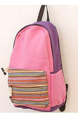 Folk Style Striped Printing PINK Canvas Backpack