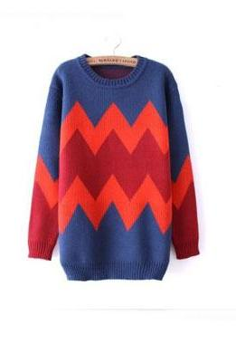 Nice Red Texture Slim Geometric Sweater