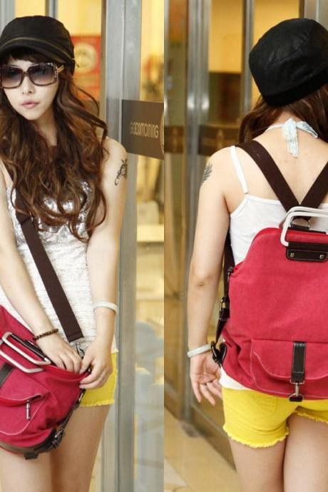 Multi-function Nice Red Canvas Backpack