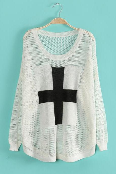 Unique Cross Bat Sleeve Hollow Out Sweater