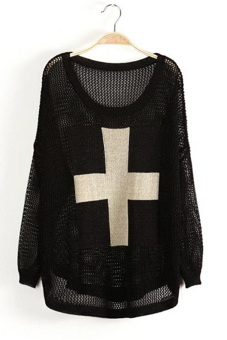 Fashion Black Cross Bat Sleeve Sweater