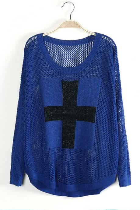 Navy Blue Bat Sleeve Hollow Cross Sweater