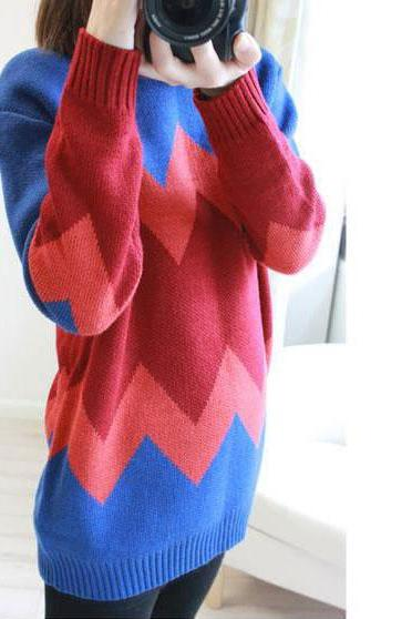 Nice Red Geometric Texture Sweater