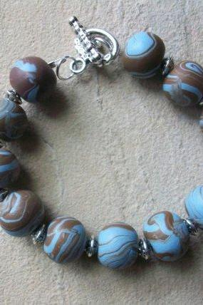 Handcrafted Large Bead Polymer Clay Bracelet