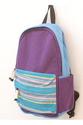 Fashion Purple Striped Printing Canvas Backpack