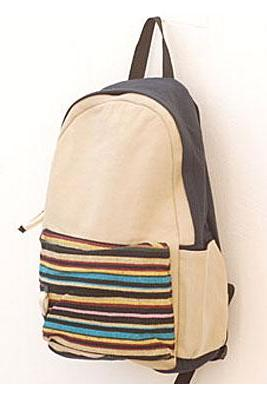 Fashion Cream Striped Canvas Backpack