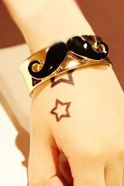Moustache Bracelet, Cute Fashion Black Moustache Decoration Wide Gold Bracelet, Free Shipping