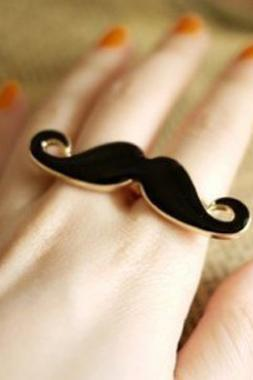Moustache Ring, Elegant Blue Adjustable Size Double Finger Moustache Ring, Free Shipping