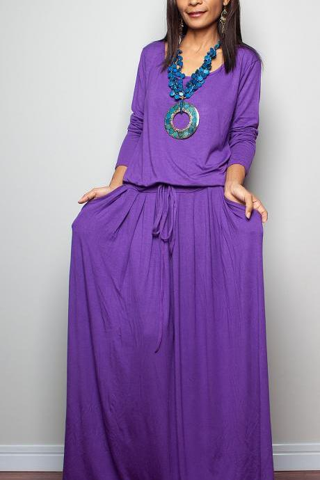 Purple Maxi Dress - Long Sleeve dress