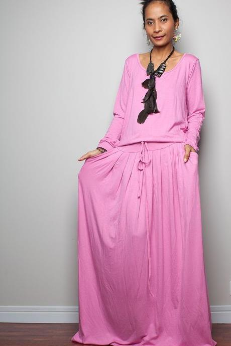 Pink Maxi Dress - Long Sleeve dress