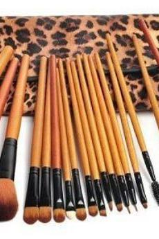 Professional 18 Piece Luxurious Natural Hair Leopard Cosmetic Brush Set