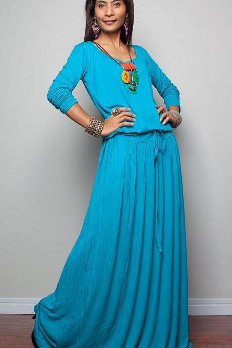 Light Turquoise/Aqua Maxi Dress - Long Sleeve dress