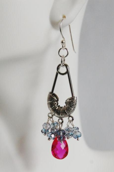 Hot Pink Quartz and Iolite Chandelier