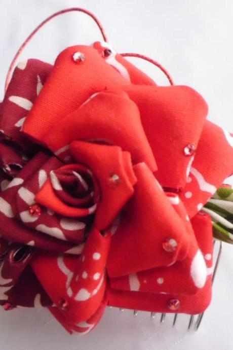 Red Maroon Rose Hair Comb Hair Fascinator Batik Tsumami Kanzashi Bridal Wedding Party Original