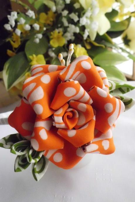 Orange Rose Headband for Bridal Wedding Party Made of Batik Tsumami Kanzashi Original