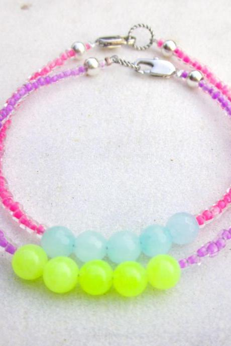 Bracelets neon beaded bracelets seed beads jade bracelets candy colored bracelets stone bracelets set of two