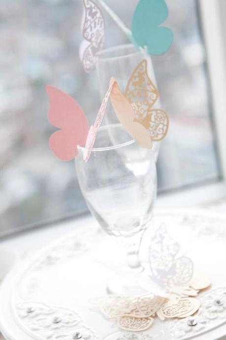 80 x Luxury Laser Cut Butterfly Place Cards / Wine Glass Cards