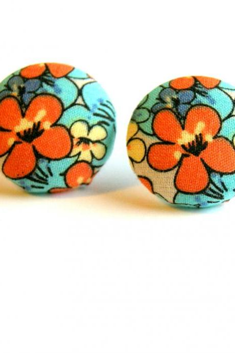 Caribbean Flower Fabric Button Stud Earrings - Large