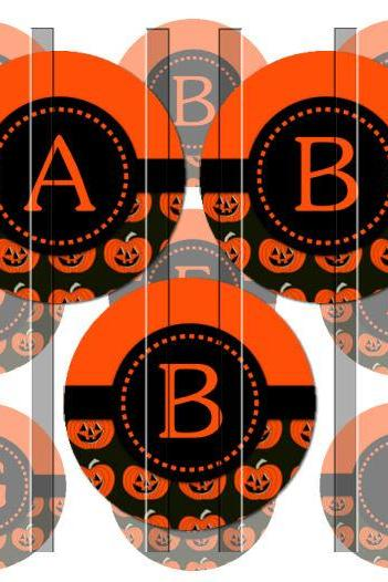 Halloween Pumpkin Alphabet Initials Letters 1 INCH Circle Digital Bottle Cap Image Collage Sheet For Bottle Cap Jewelry, Key Chains, Zipper Pulls, Card Making Embellishments, Scrapbook Embellishments, and Hairbows