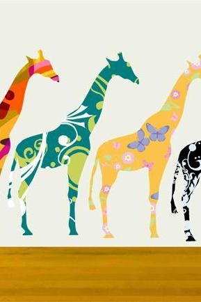 Small Giraffe Decals Stickers with colorful pattern Set of Four