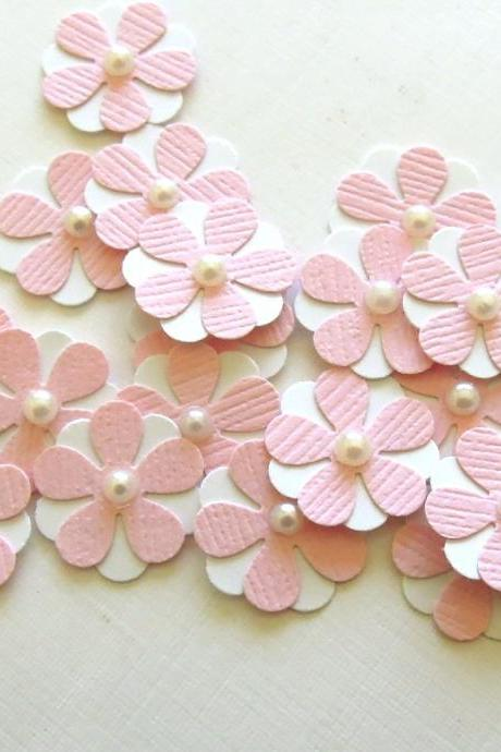 Teeny Tiny Baby Pink and White Flowers - Set of 20