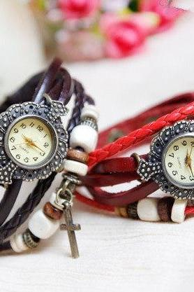 6 Colors Retro Quartz Fashion Watch, Weave Wrap Black Leather Watch, Cross Pendant Bracelet Watch,Girl Watch leather bracelet watch -B20
