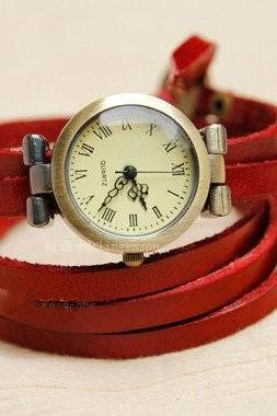 4 Colors leather wrist watch,Muti-circle watch bracelet,leather watch,adjustable watch,vintage wrist watch, handmade watch bracelet-B12