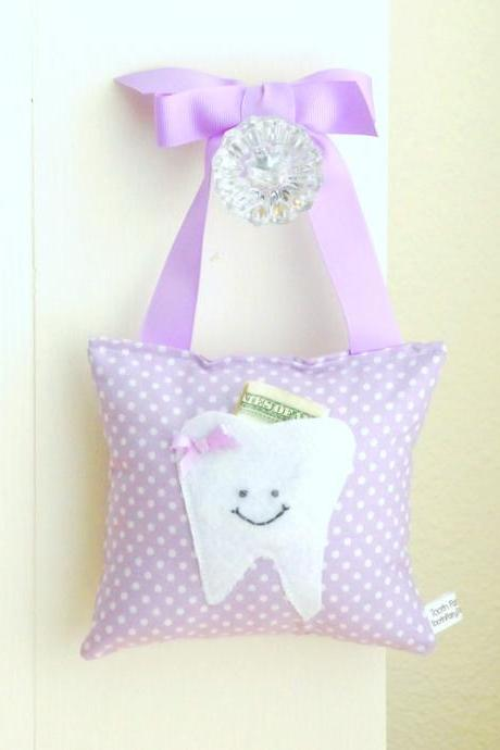 Tooth Fairy Pillow in Lavender and White Polka Dot Cotton