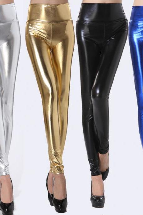 Fashion Metallic Fabric High Waist Elastic Tight Leggings