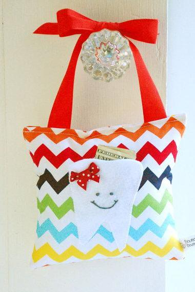 Tooth Fairy Pillow for Girls in Rainbow Chevron Print