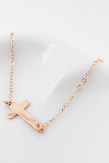 Rose Gold Sideways Cross Necklace, Rose Gold Filled Necklace Gift for Her