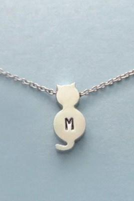 Initial, Handstamped, Cute, Silver Cat, Necklace
