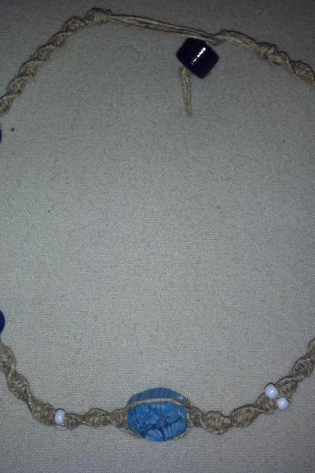 Deep Blue Hemp Necklace