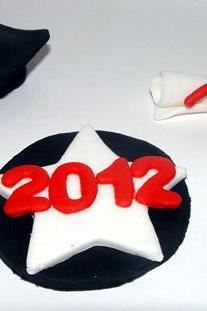 12 Fondant Graduation Themed Cupcake Toppers