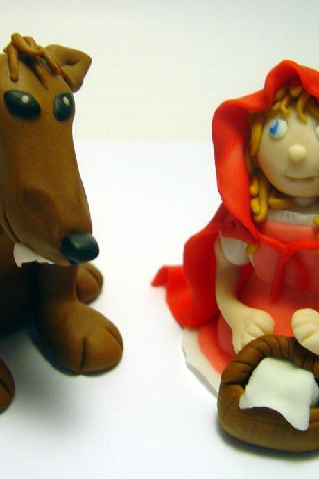 Fondant Red Riding Hood & Wolf Cake Toppers
